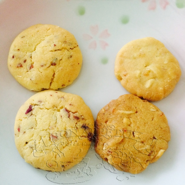 Left ~ Rose Tea Cookies , Right ~ Yuzu + Almond Nuts Cookies